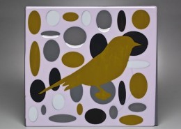OCHRE BIRD IN PINK ELLIPSE FIELD