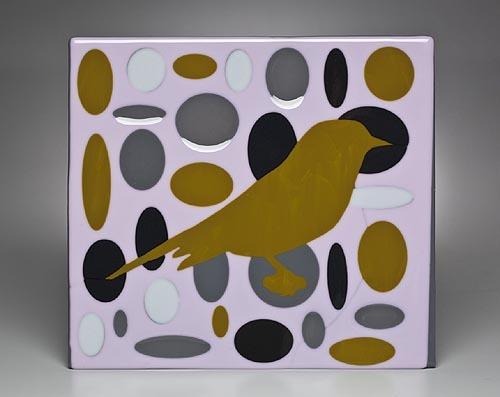 OCHRE BIRD IN PINK ELLIPSE FIELD
