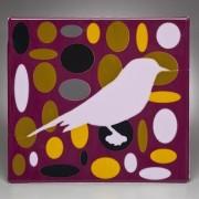 PINK BIRD IN PURPLE ELLIPSE FIELD