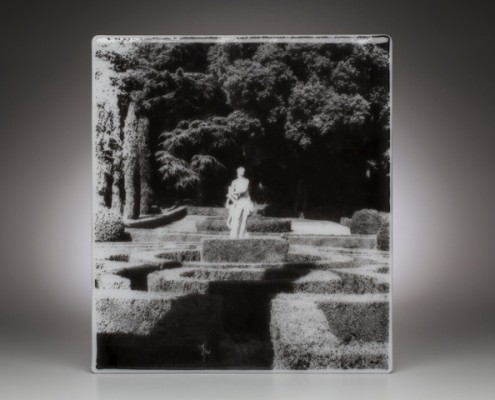 "VERONA GARDEN | 18 X 16"" Enamel on fused glass"