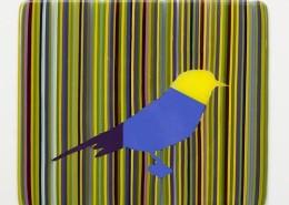 ELLSWORTH YELLOW, BLUE AND PURPLE BIRD IN STRIPES