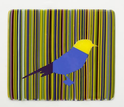ELLSWORTH YELLOW, BLUE AND PURPLE BIRD IN STRIPES