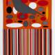 GREY BIRD IN PIMENTO ELLIPSE FIELD AND STRIPES