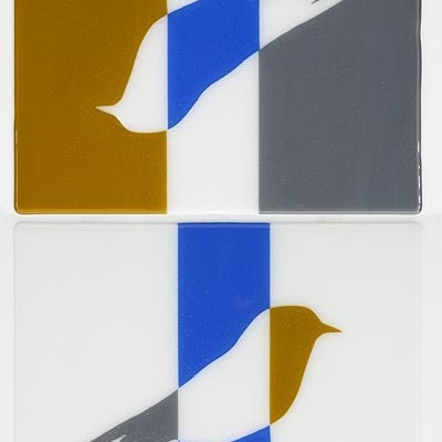 INVERTED ELLSWORTH BIRDS IN OCHRE, BLUE, WHITE AND GREY