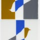 INVERTED ELLSWORTH BIRDS IN OCHRE, BLUE, WHITE AND GREY