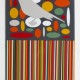 LIGHT GREY BIRD IN DARK GREY ELLIPSE FIELD