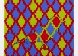 MOROCCAN BIRD IN RED GRID