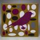 PURPLE BIRD IN OCHRE ELLIPSE FIELD