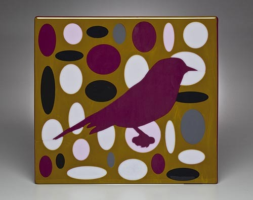 PURPLE BIRD IN OCHRE ELLIPSE FIELD