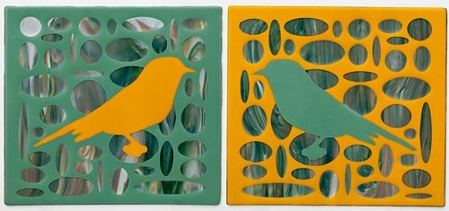 YELLOW AND GREEN BIRDS IN ELLIPSE FIELD