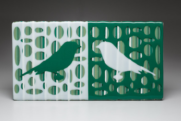 Green & White Bird